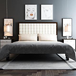 现代时尚创意床具组合3d模型