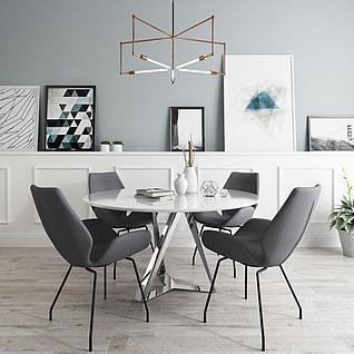 北欧休闲办公桌椅吊灯组合3d模型