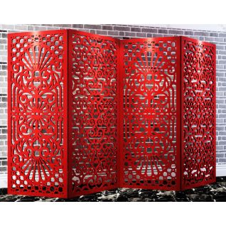 中式红色镂花屏风3d模型