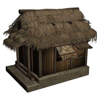 茅草房3d模型