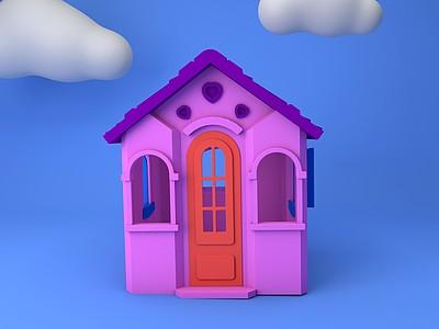 C4D兒童塑料小屋模型