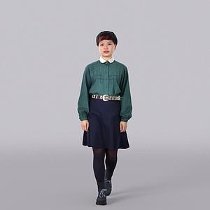 短发美女模型3d模型