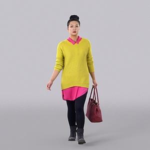 黄色毛衣女人模型3d模型