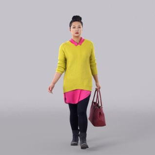 黄色毛衣女人3d模型