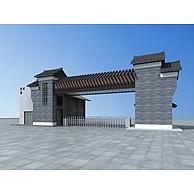 仿古学校大门3D模型3d模型