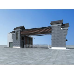 仿古学校大门3d模型