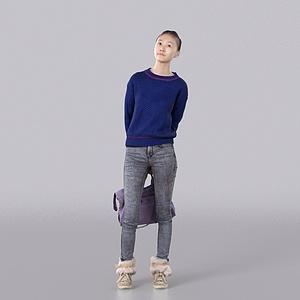 蓝色毛衣女孩模型3d模型