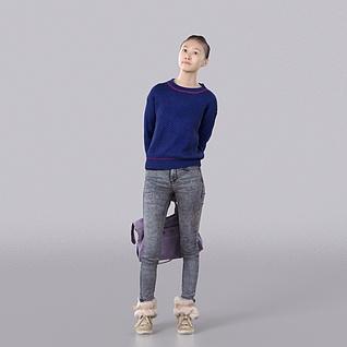 蓝色毛衣女孩3d模型