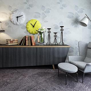 灰色休闲沙发椅边柜组合3d模型