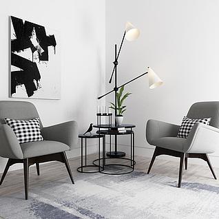 现代休闲椅子高低茶几组合3d模型