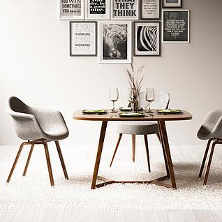 休闲餐桌椅挂画组合3d模型