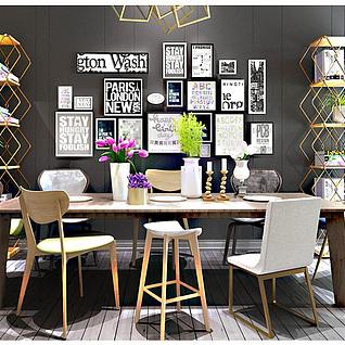 现代简约休闲桌椅置物架组合3d模型