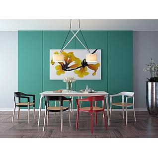 现代吊灯餐桌椅组合3d模型3d模型