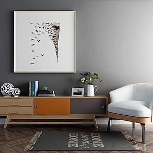 電視柜休閑沙發椅組合模型3d模型