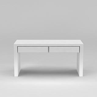 白色简约书桌3d模型