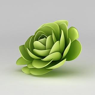 绿色塑胶花3d模型