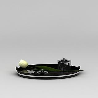 茶托盘和花3d模型