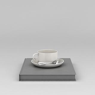 咖啡杯和书3d模型