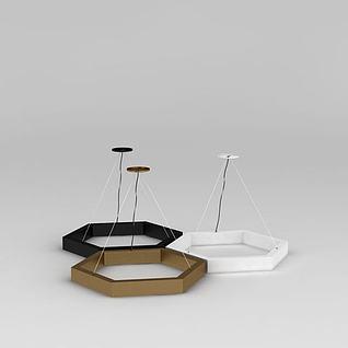 创意六角形吊灯3d模型