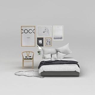 现代简约北欧床椅子挂画组合3d模型