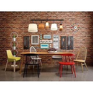 现代实木餐桌椅loft背景墙组合3d模型