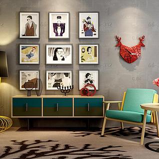 艺术落地灯沙发椅茶几组合3d模型