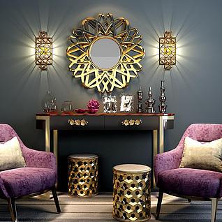 奢华紫色沙发椅边柜组合3d模型
