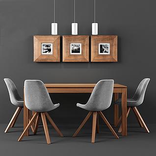 北欧时尚实木餐桌椅组合3d模型