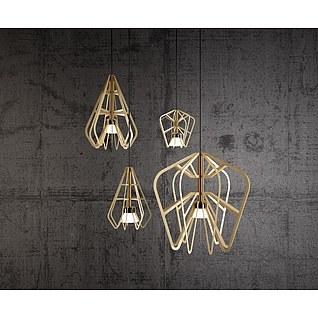 北欧简约木质吊灯3d模型