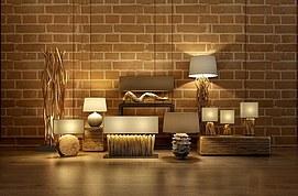 木台灯落地灯组合模型