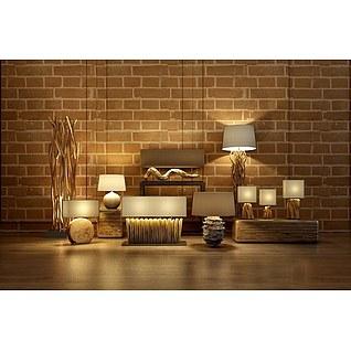 木台灯落地灯组合3d模型