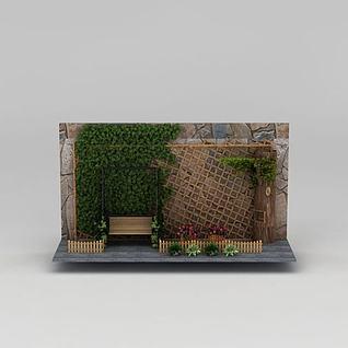 庭院休闲植物小景3d模型