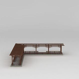 简易L型廊架3d模型