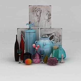 北欧风格花瓶摆件3d模型