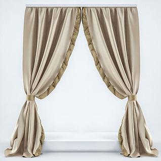 香槟色飘窗窗帘3d模型