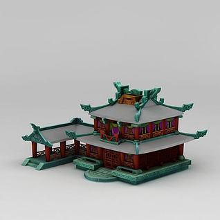 中式庭院阁楼3d模型