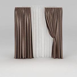咖啡色窗帘模型