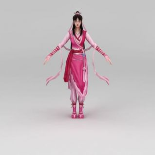 粉色衣裙古装女人3d模型