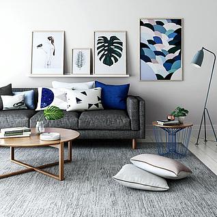 现代沙发茶几创意边几组合3d模型