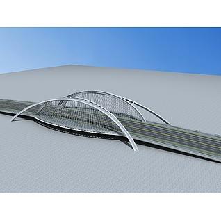 现代大桥3d模型3d模型