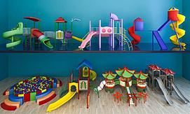 儿童游乐场滑梯组合模型