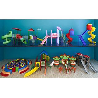 儿童游乐场滑梯组合3d模型