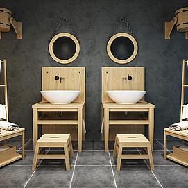 中式创意洗手台盆五件套模型