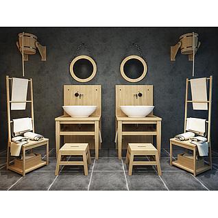 中式创意洗手台盆五件套3d模型