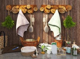 田园风浴室木头毛巾挂架摆品组合模型