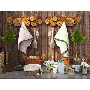 田园风浴室木头毛巾挂架摆品组合3d模型