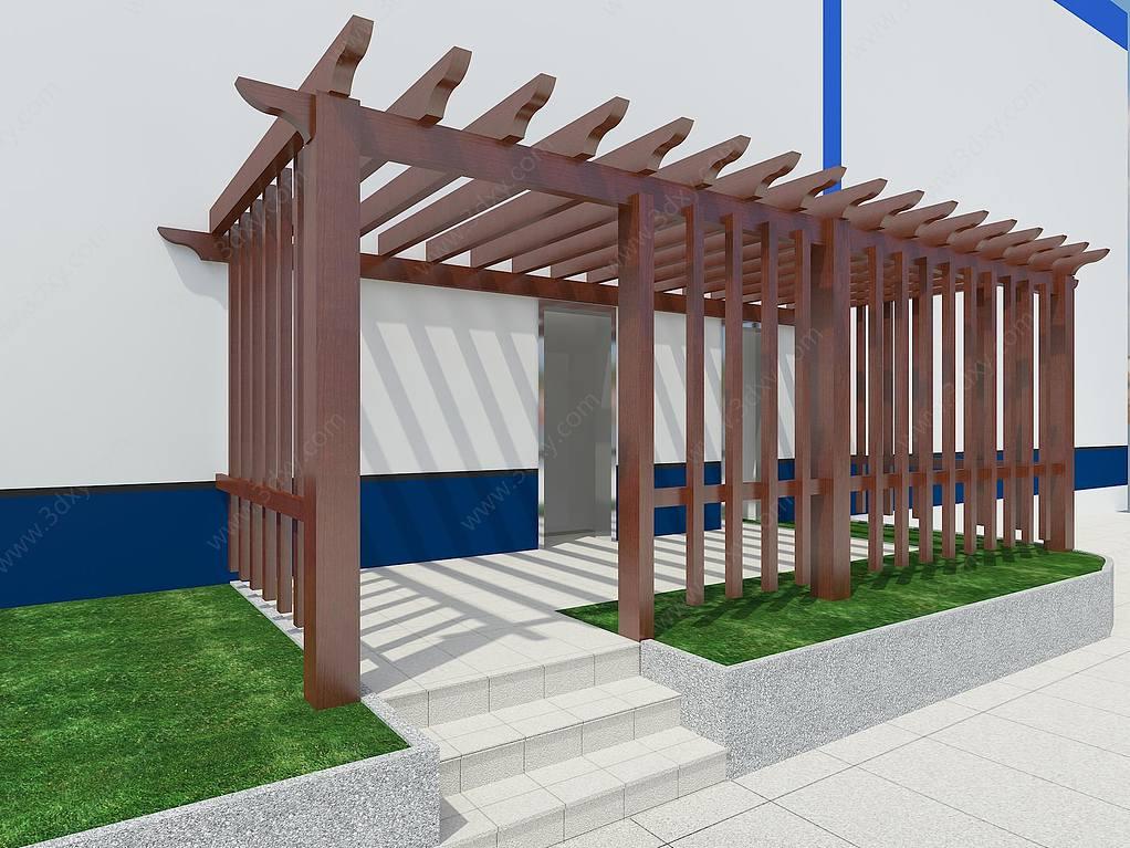 中式实木廊架