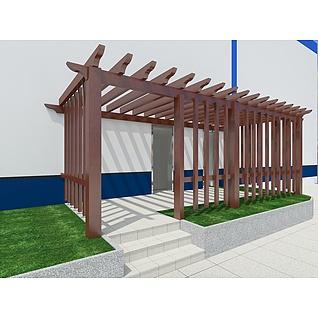 中式实木廊架3d模型