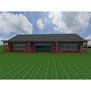 中式红木屋3d模型