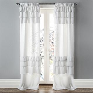 卧室阳台落地窗帘3d模型
